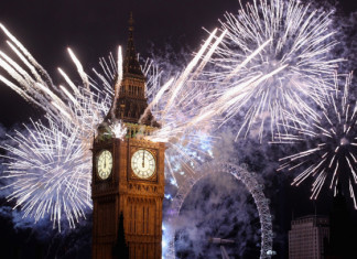 Fireworks on Big Ben for London 2012 Olympics