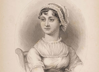 Engraved portrait from A Memoir of Jane Austen by JE Austen-Leigh, on display as part of the Jane Austen by the Sea exhibition, Royal Pavilion, Brighton. Jane Austen 200 anniversary events 2017
