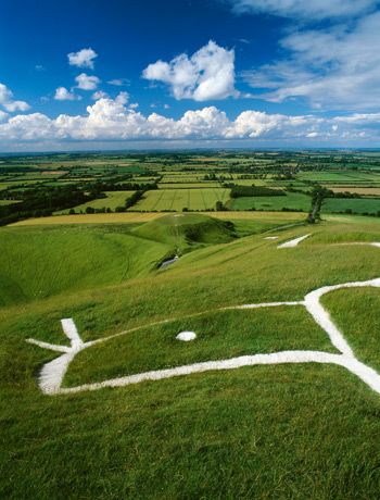 Chalk figure carved on the hillside in Uffington, Oxfordshire