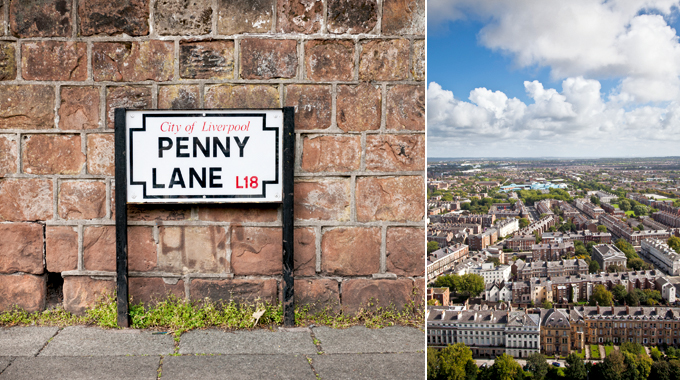 Penny Lane, near John Lennon's house / Aerial view over the city of Liverpool