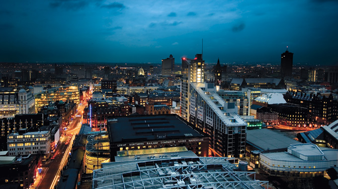 Manchester cityscape at dusk