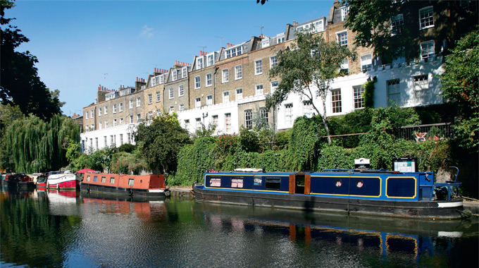 Canal boats moored on the Regents Canal at Noel Road in Islington