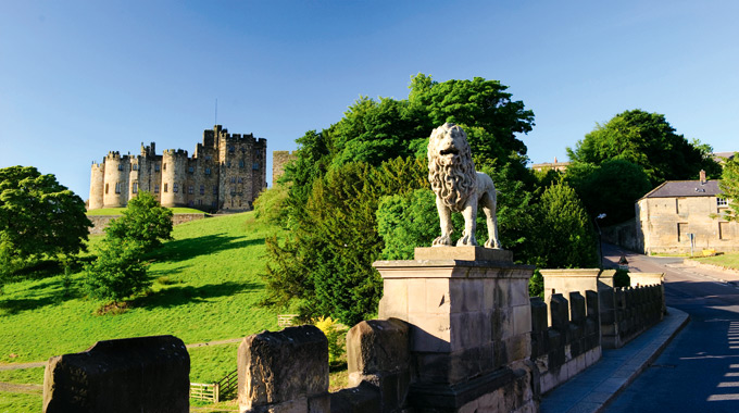 Alnwick Castle and its lion bridge