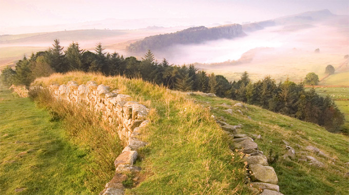 View towards Steel Rigg from Hadrian's Wall.