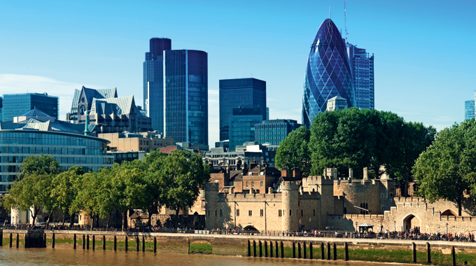 The Tower of London today is dwarfed by the City of London