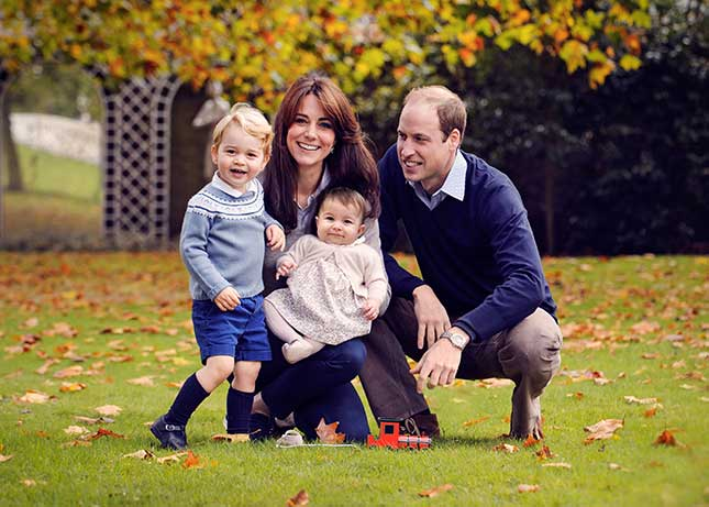 The Duke and Duchess of Cambridge and their children. The Duchess of Cambridge is expecting her third child