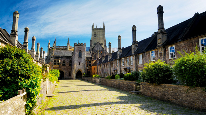 Wells Cathedral viewed from Vicars' Close