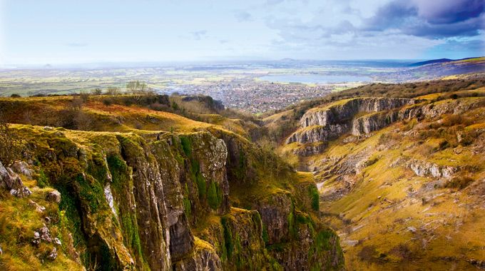 Cheddar Gorge, a limestone gorge in the Mendip Hills