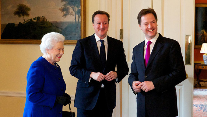 Her Majesty the Queen with the Prime Minister and Deputy Prime Minister