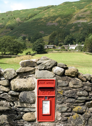 A red letterbox in the Lake District