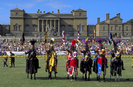 Holkham Hall with medieval re-enactors