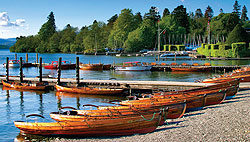 Boats line the shores of Bowness-on-Windermere