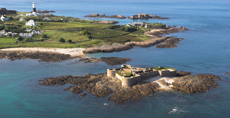 Lighthouse and forts on Alderney