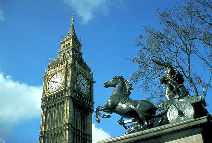 Big Ben and the Boadicea Statue, Westminster, London, London, England. Credit: VisitBritain/ Britain on View