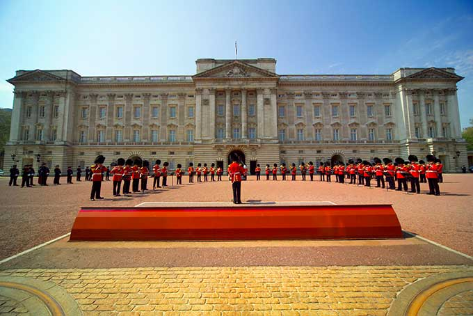Band performing during The Changing of the Guard ceremony taking place in the courtyard of Buckingham Palace. Credit: britainonview/Pawel Libera