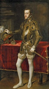 A portrait of Mary I's future husband and heir to the throne of Spain, Philip II in Armour, painted by Titian in 1551 Credit: Museo del Prado/Wikipedia